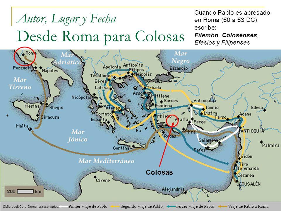 Autor, Lugar y Fecha Desde Roma para Colosas