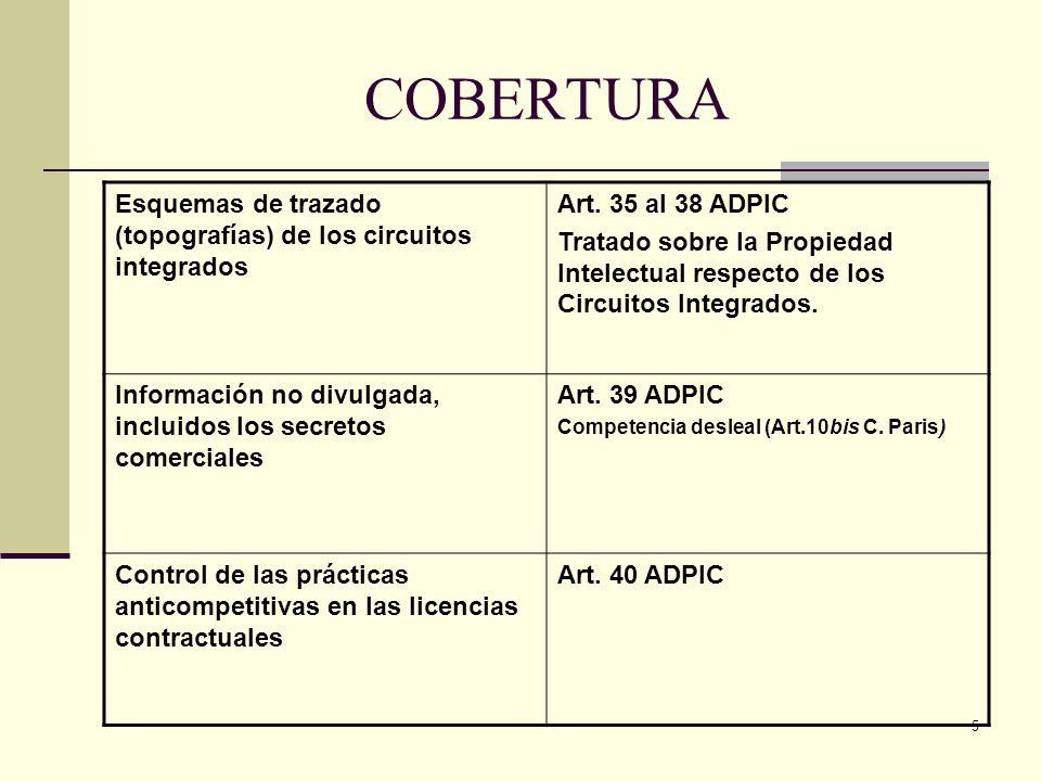 COBERTURA Esquemas de trazado (topografías) de los circuitos integrados. Art. 35 al 38 ADPIC.