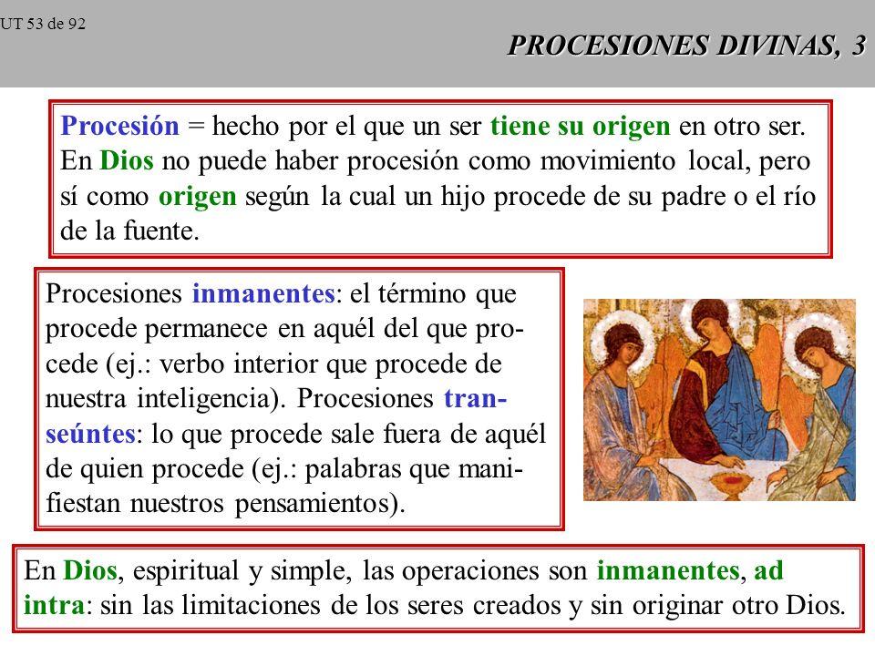 Procesión = hecho por el que un ser tiene su origen en otro ser.