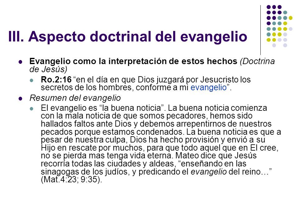 III. Aspecto doctrinal del evangelio