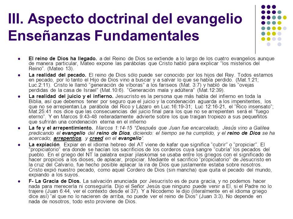 III. Aspecto doctrinal del evangelio Enseñanzas Fundamentales