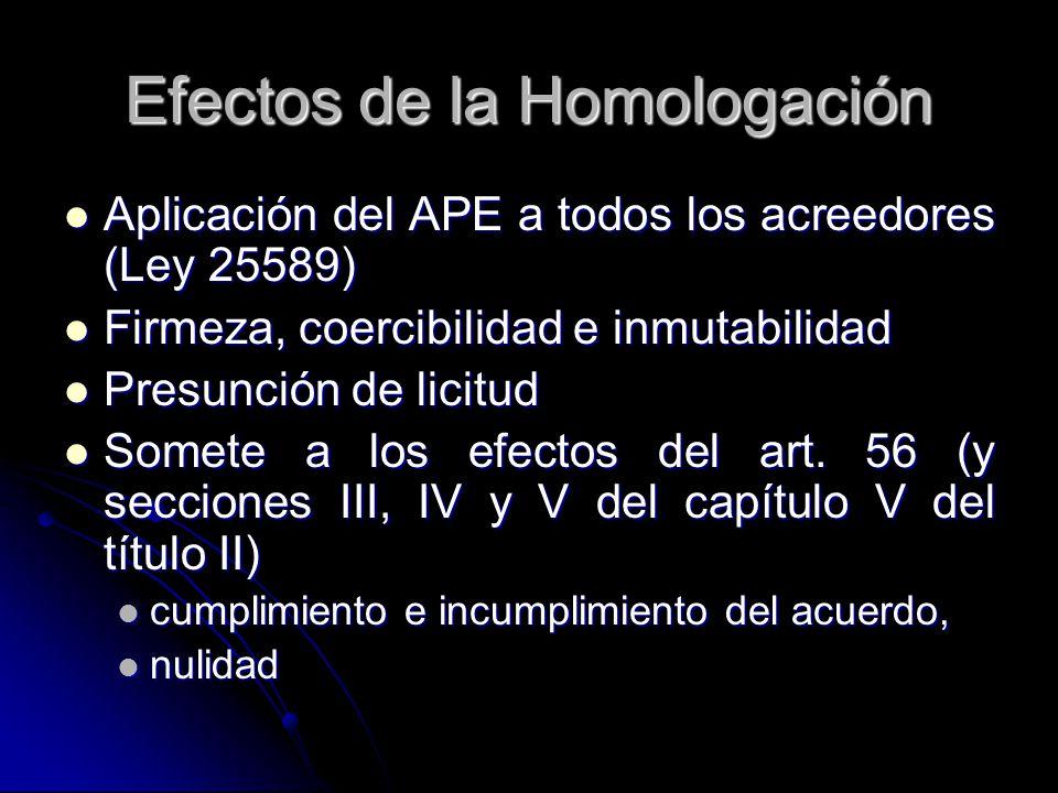 Efectos de la Homologación