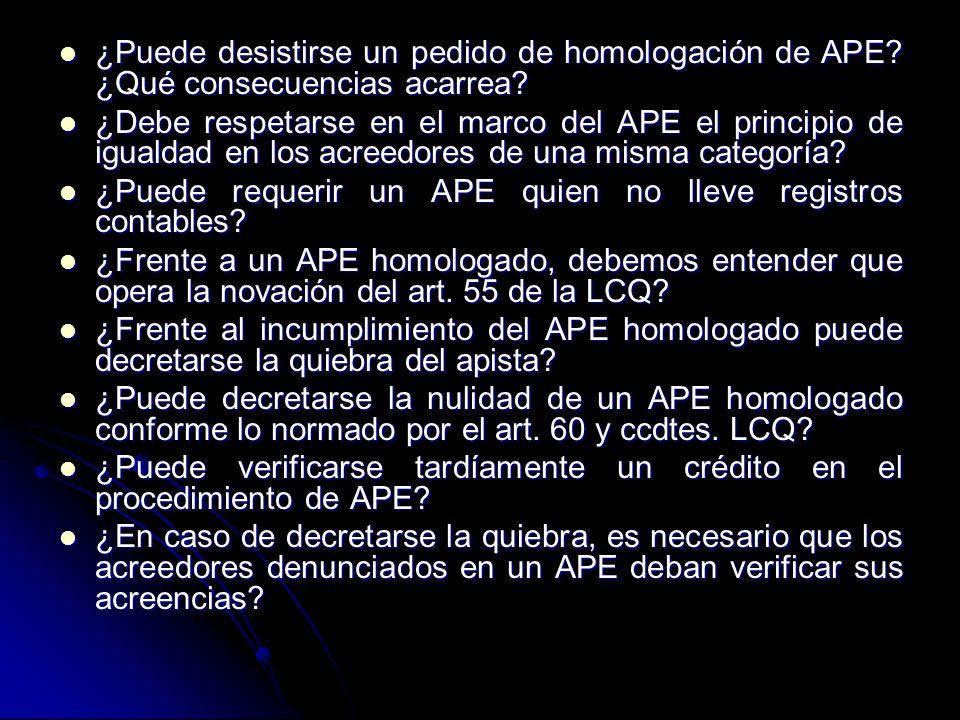 ¿Puede desistirse un pedido de homologación de APE