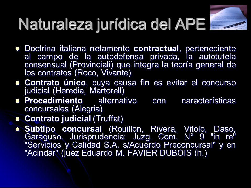 Naturaleza jurídica del APE