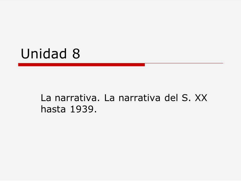 La narrativa. La narrativa del S. XX hasta 1939.
