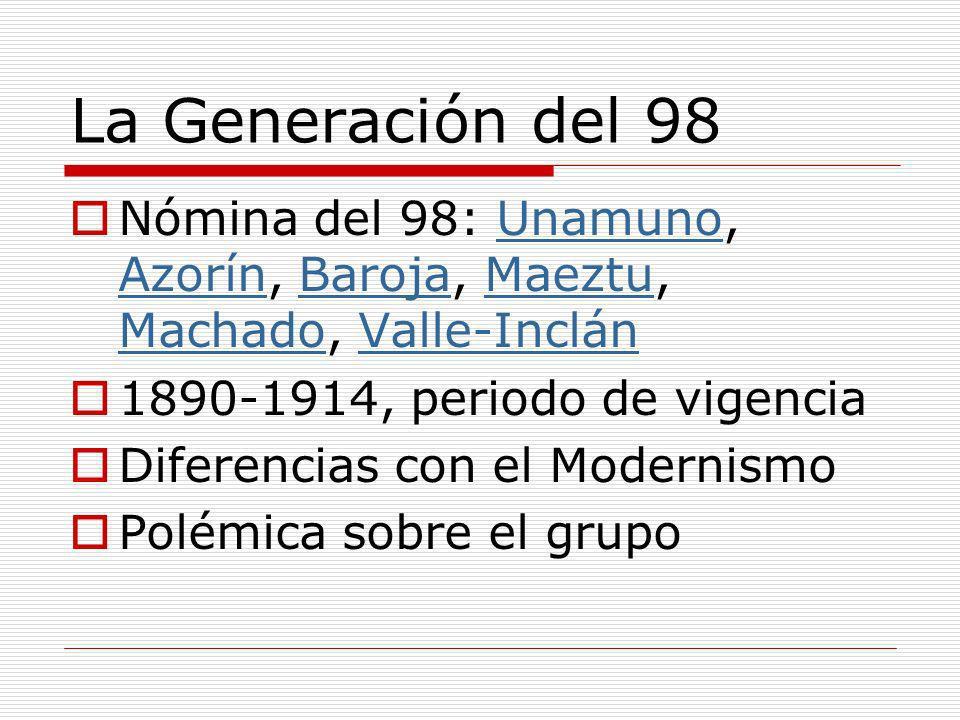 La Generación del 98 Nómina del 98: Unamuno, Azorín, Baroja, Maeztu, Machado, Valle-Inclán. 1890-1914, periodo de vigencia.
