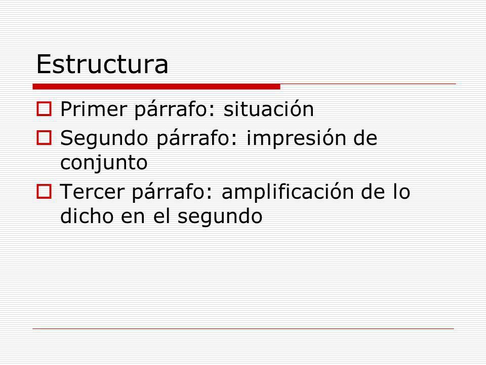 Estructura Primer párrafo: situación