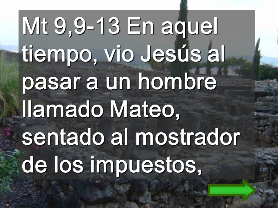 Mt 9,9-13 En aquel tiempo, vio Jesús al pasar a un hombre llamado Mateo, sentado al mostrador de los impuestos,