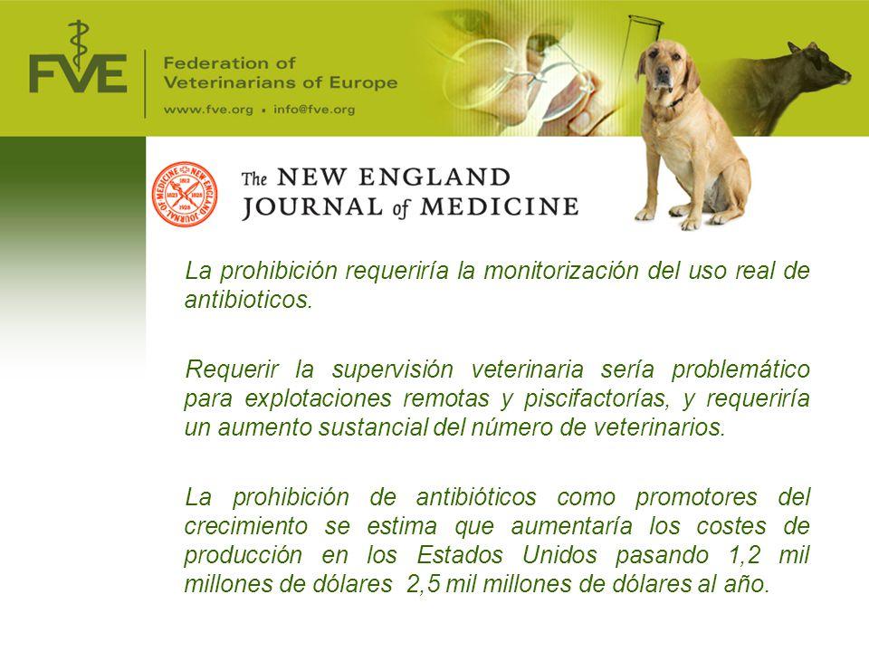 La prohibición requeriría la monitorización del uso real de antibioticos.