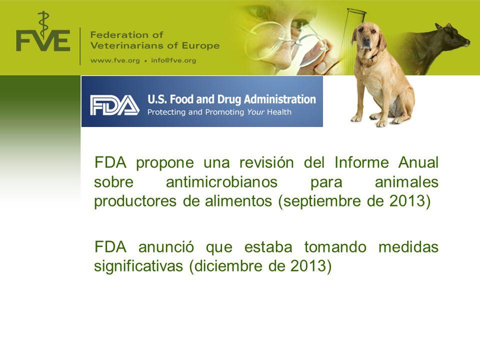 FDA propone una revisión del Informe Anual sobre antimicrobianos para animales productores de alimentos (septiembre de 2013)