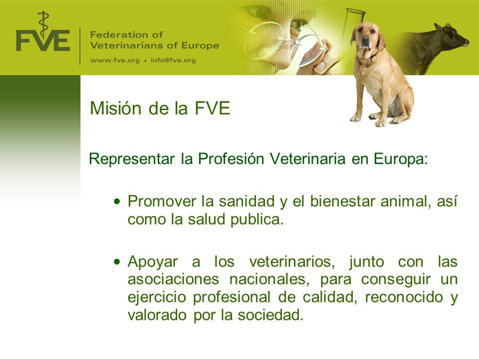 Misión de la FVE Representar la Profesión Veterinaria en Europa: