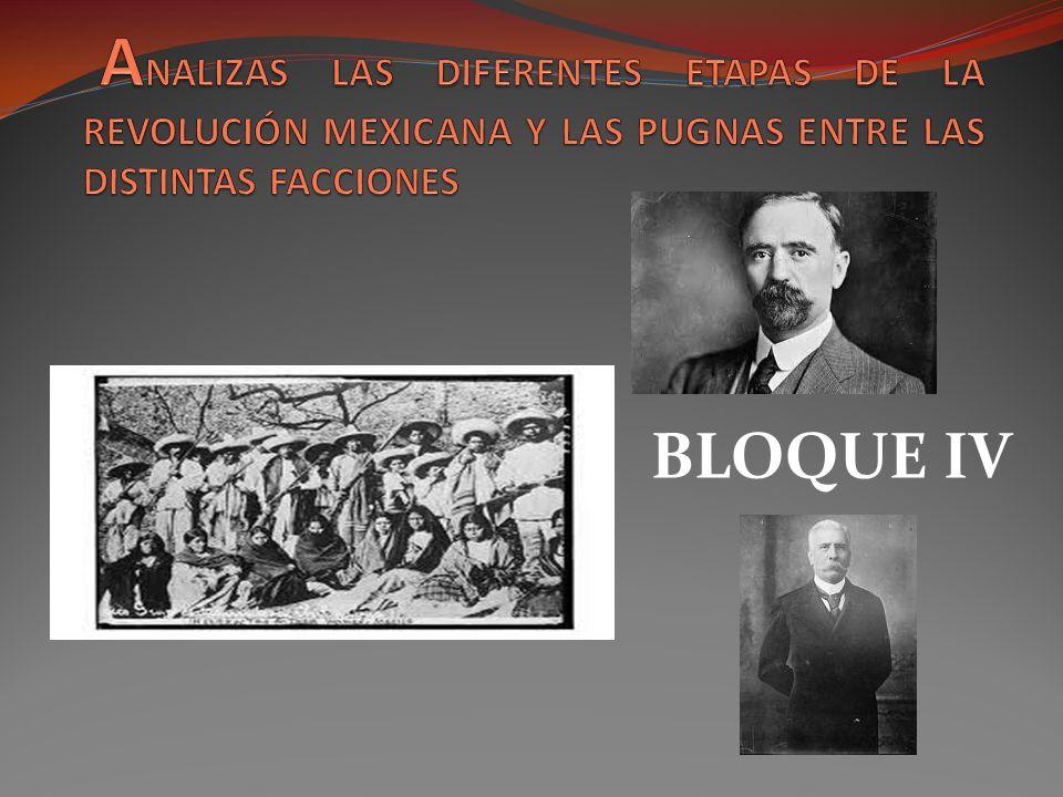 ANALIZAS LAS DIFERENTES ETAPAS DE LA REVOLUCIÓN MEXICANA Y LAS PUGNAS ENTRE LAS DISTINTAS FACCIONES