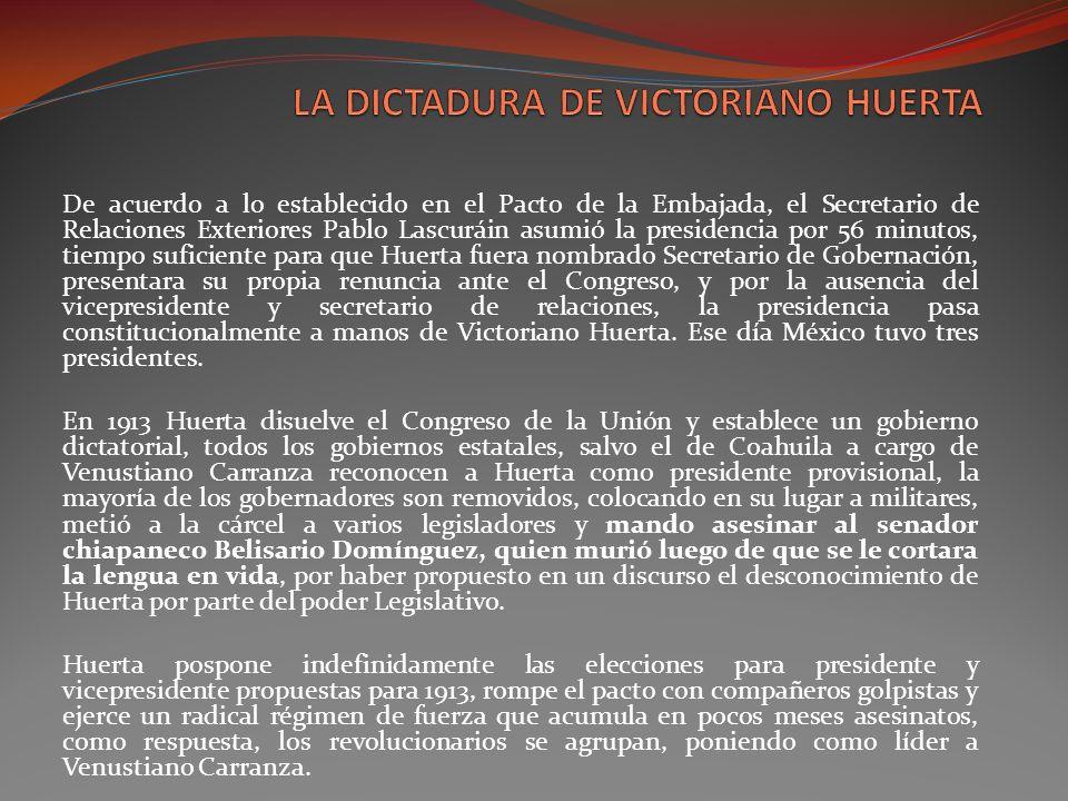 LA DICTADURA DE VICTORIANO HUERTA