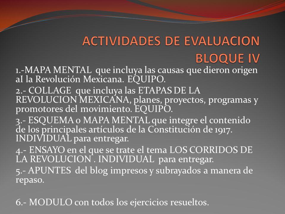ACTIVIDADES DE EVALUACION BLOQUE IV
