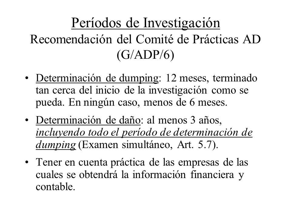 Períodos de Investigación Recomendación del Comité de Prácticas AD (G/ADP/6)
