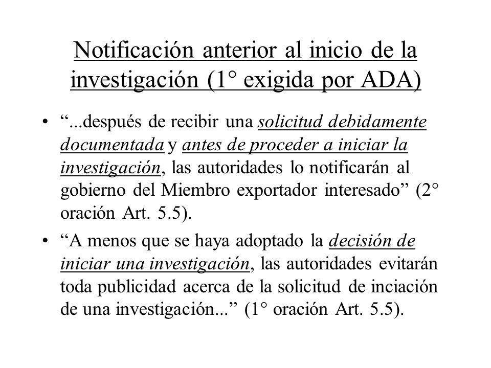 Notificación anterior al inicio de la investigación (1° exigida por ADA)