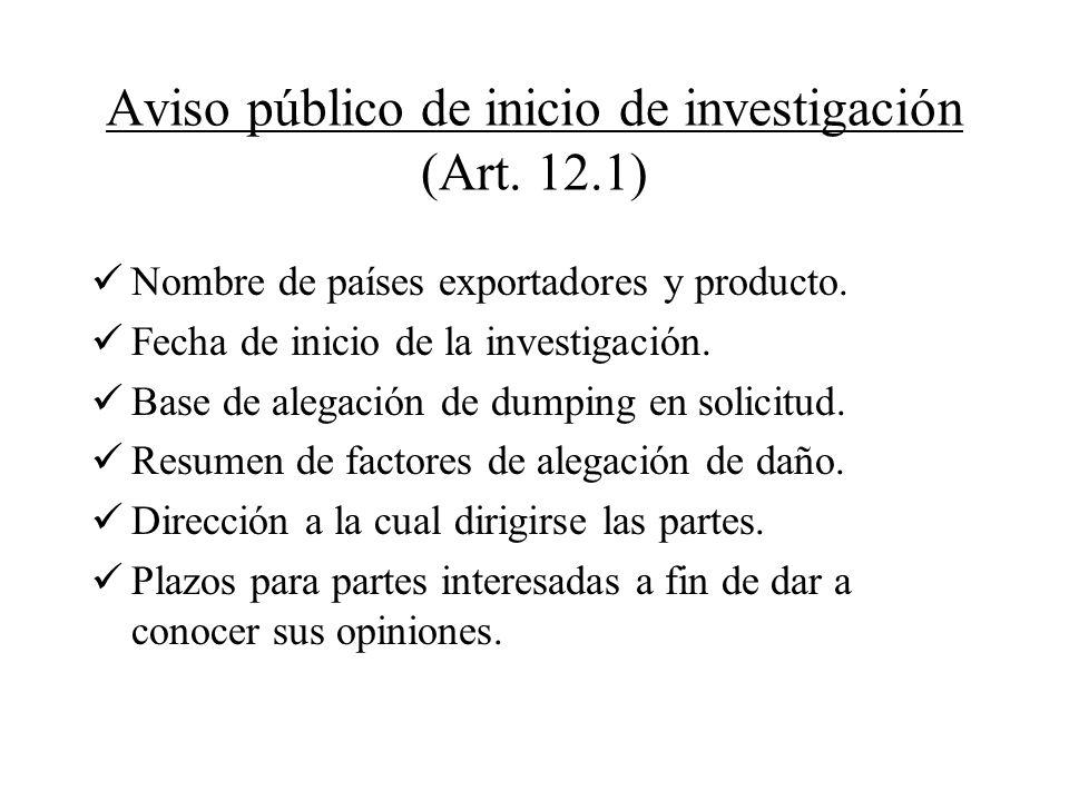Aviso público de inicio de investigación (Art. 12.1)