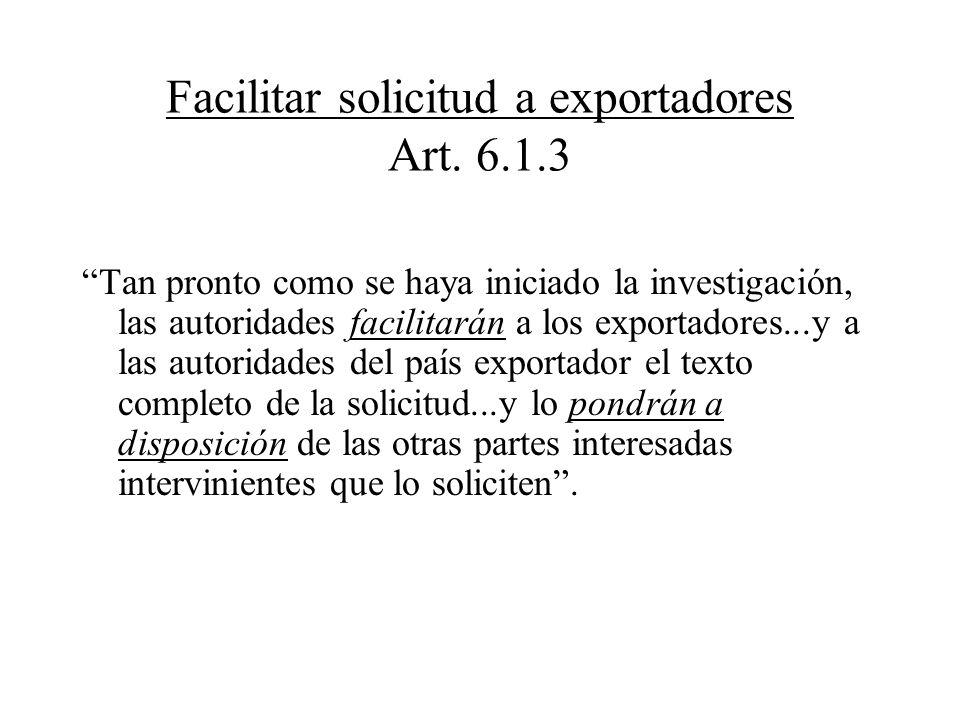 Facilitar solicitud a exportadores Art. 6.1.3