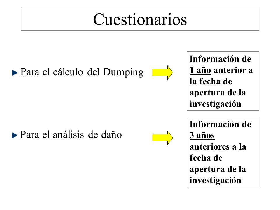 Cuestionarios Para el cálculo del Dumping Para el análisis de daño