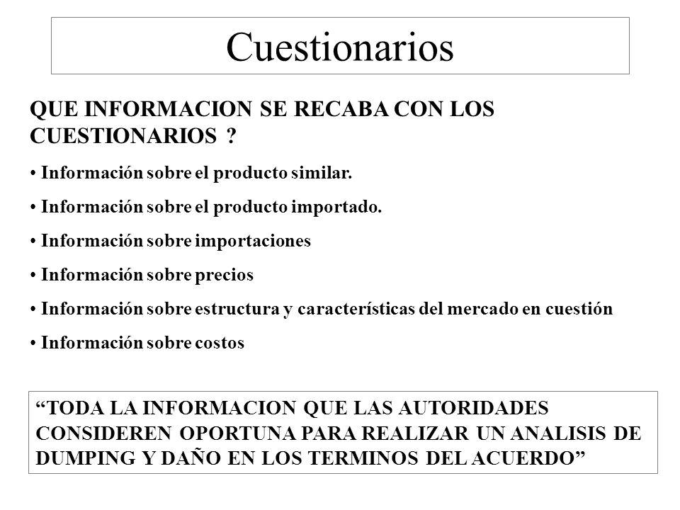 Cuestionarios QUE INFORMACION SE RECABA CON LOS CUESTIONARIOS