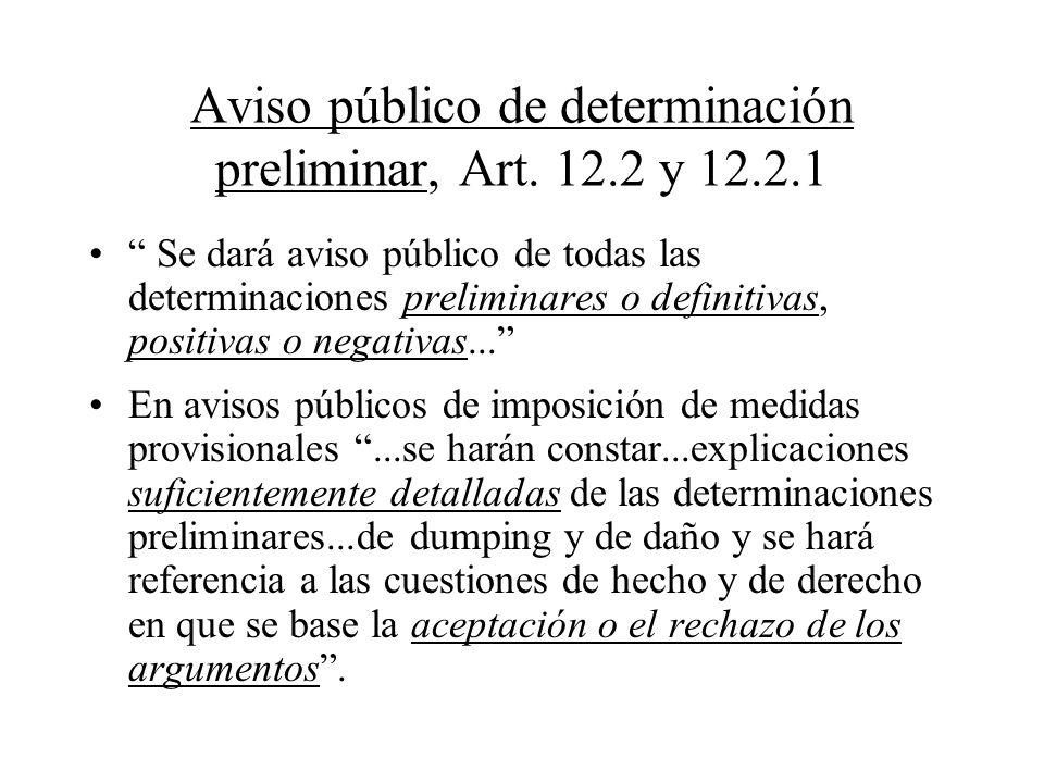 Aviso público de determinación preliminar, Art. 12.2 y 12.2.1