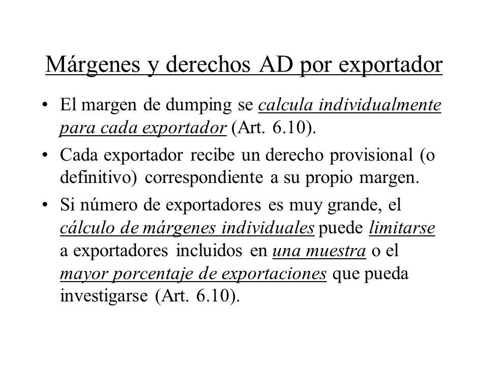 Márgenes y derechos AD por exportador