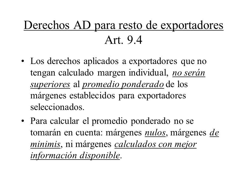 Derechos AD para resto de exportadores Art. 9.4