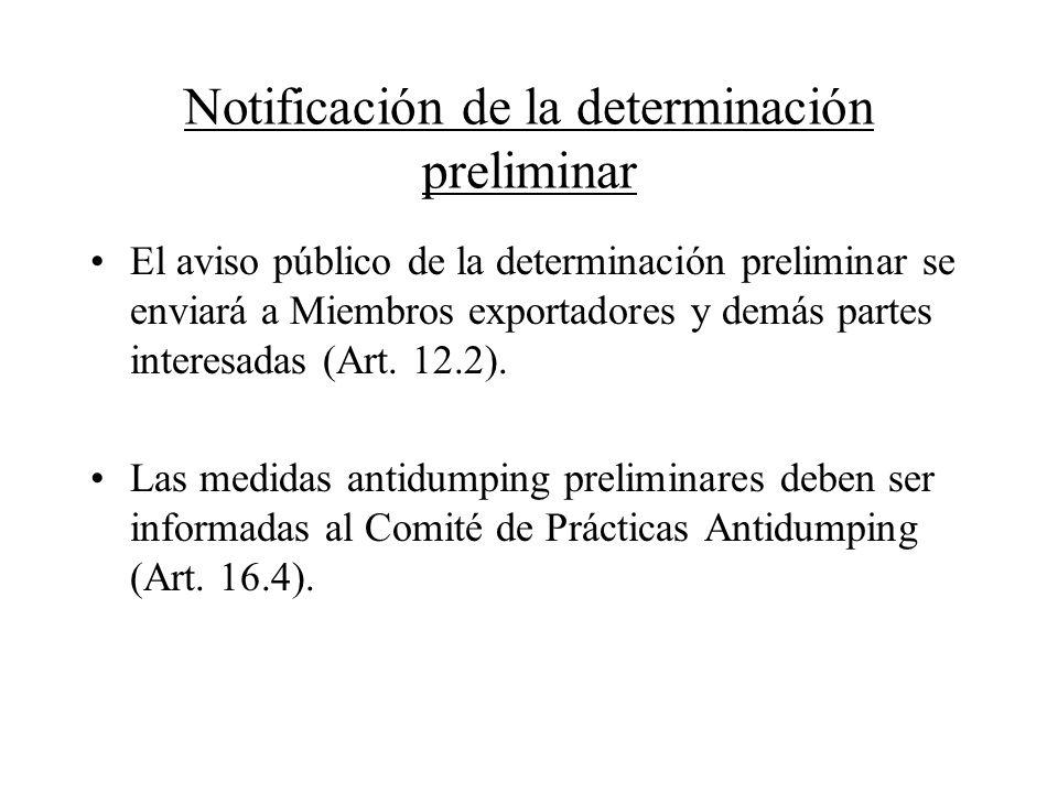 Notificación de la determinación preliminar