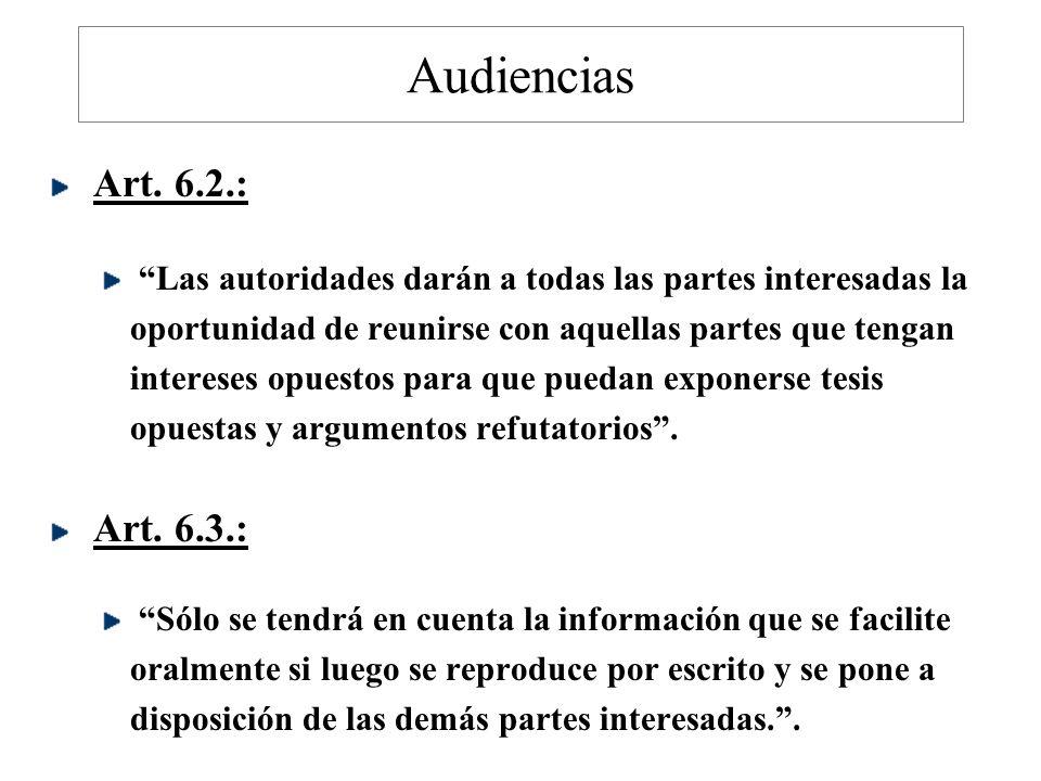Audiencias Art. 6.2.: