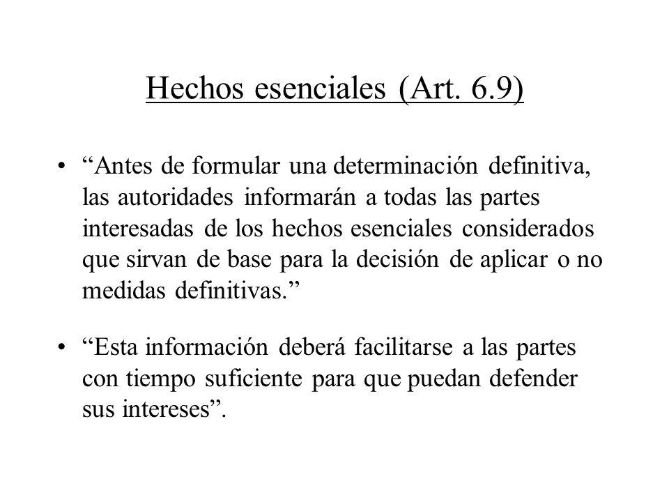Hechos esenciales (Art. 6.9)