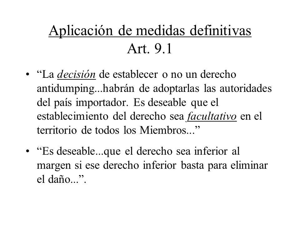 Aplicación de medidas definitivas Art. 9.1