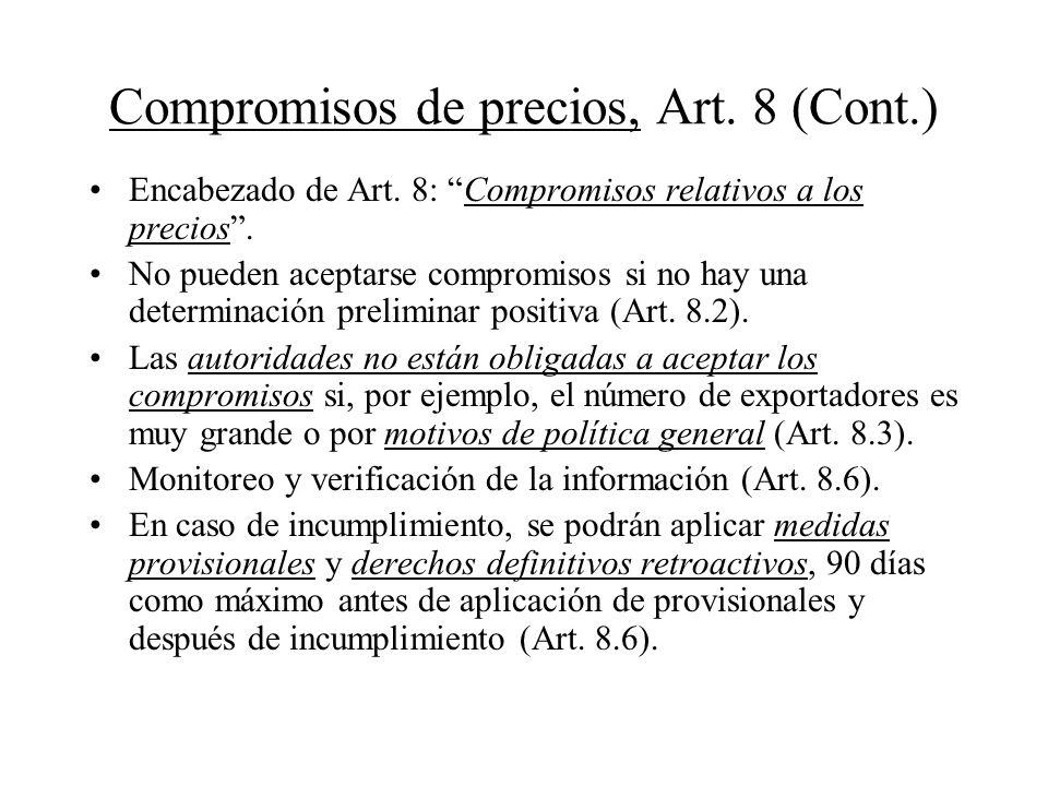 Compromisos de precios, Art. 8 (Cont.)