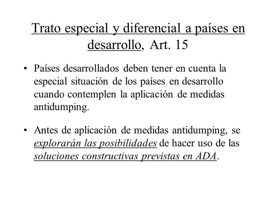 Trato especial y diferencial a países en desarrollo, Art. 15