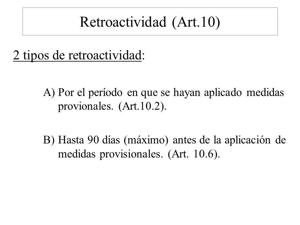Retroactividad (Art.10) 2 tipos de retroactividad: