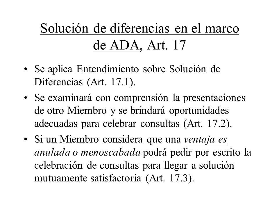 Solución de diferencias en el marco de ADA, Art. 17