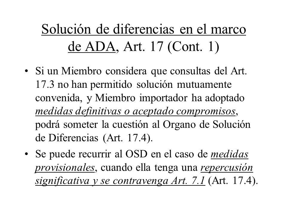 Solución de diferencias en el marco de ADA, Art. 17 (Cont. 1)