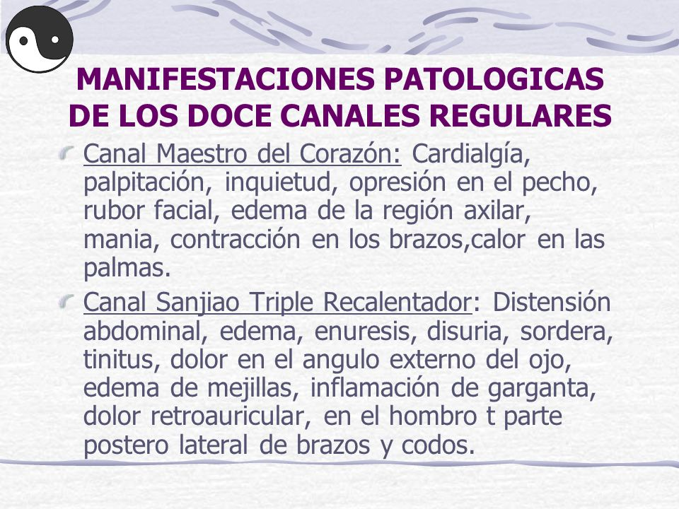 MANIFESTACIONES PATOLOGICAS DE LOS DOCE CANALES REGULARES