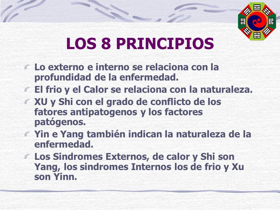 LOS 8 PRINCIPIOS Lo externo e interno se relaciona con la profundidad de la enfermedad. El frio y el Calor se relaciona con la naturaleza.