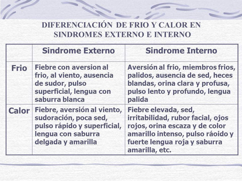 DIFERENCIACIÓN DE FRIO Y CALOR EN SINDROMES EXTERNO E INTERNO