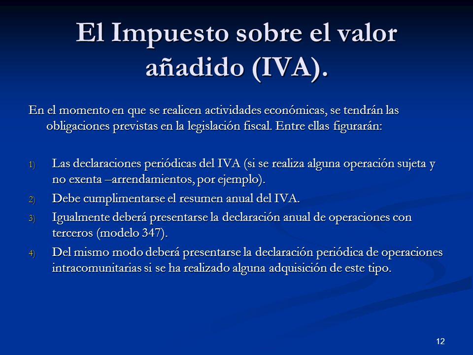 El Impuesto sobre el valor añadido (IVA).