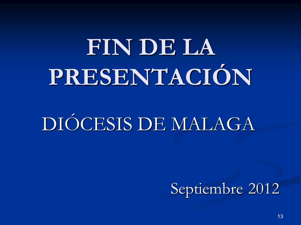 FIN DE LA PRESENTACIÓN DIÓCESIS DE MALAGA Septiembre 2012