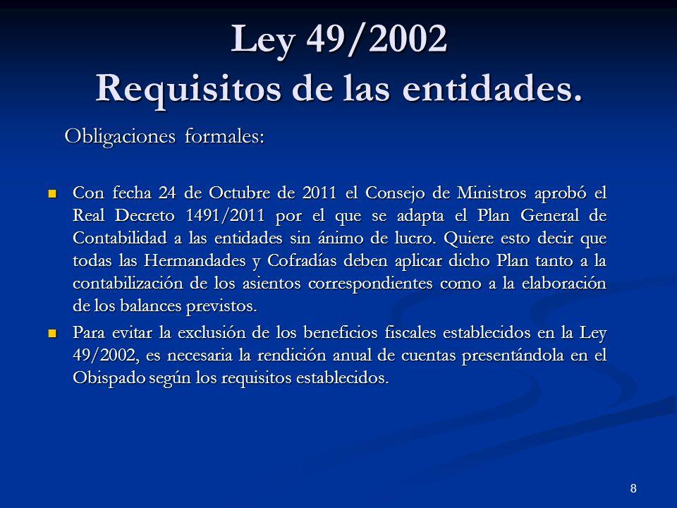 Ley 49/2002 Requisitos de las entidades.
