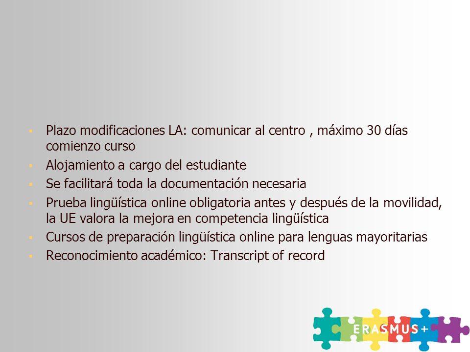 Plazo modificaciones LA: comunicar al centro , máximo 30 días comienzo curso