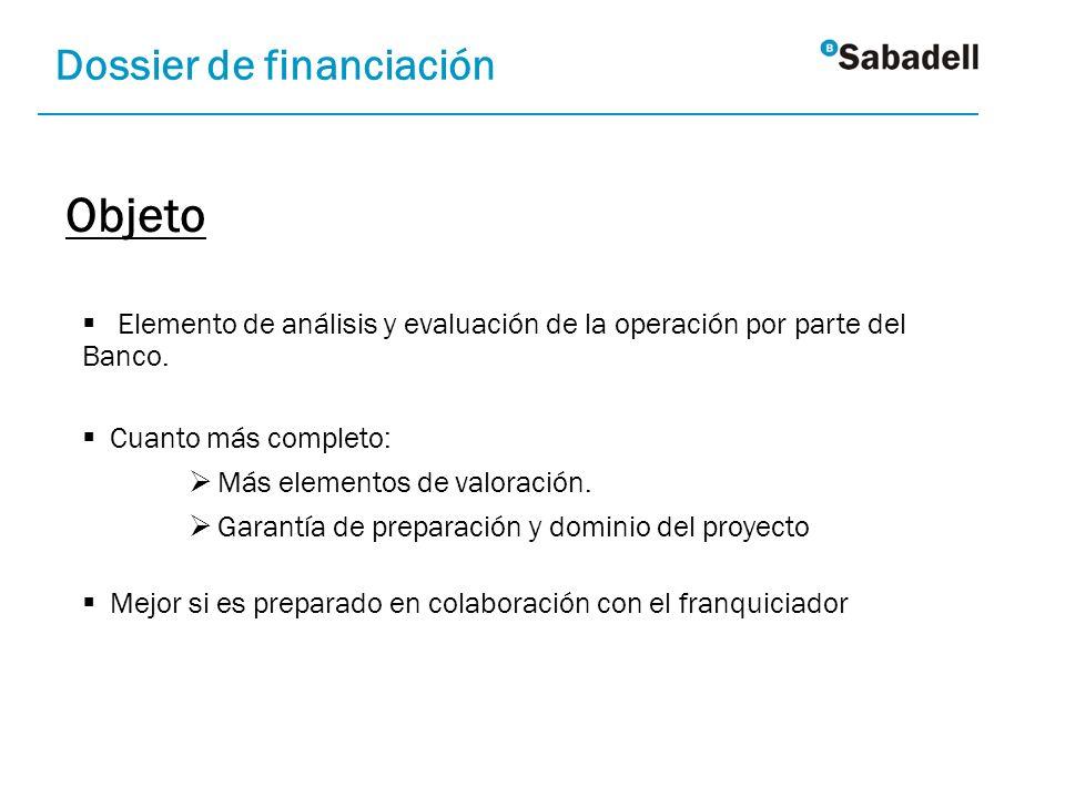 Objeto Dossier de financiación