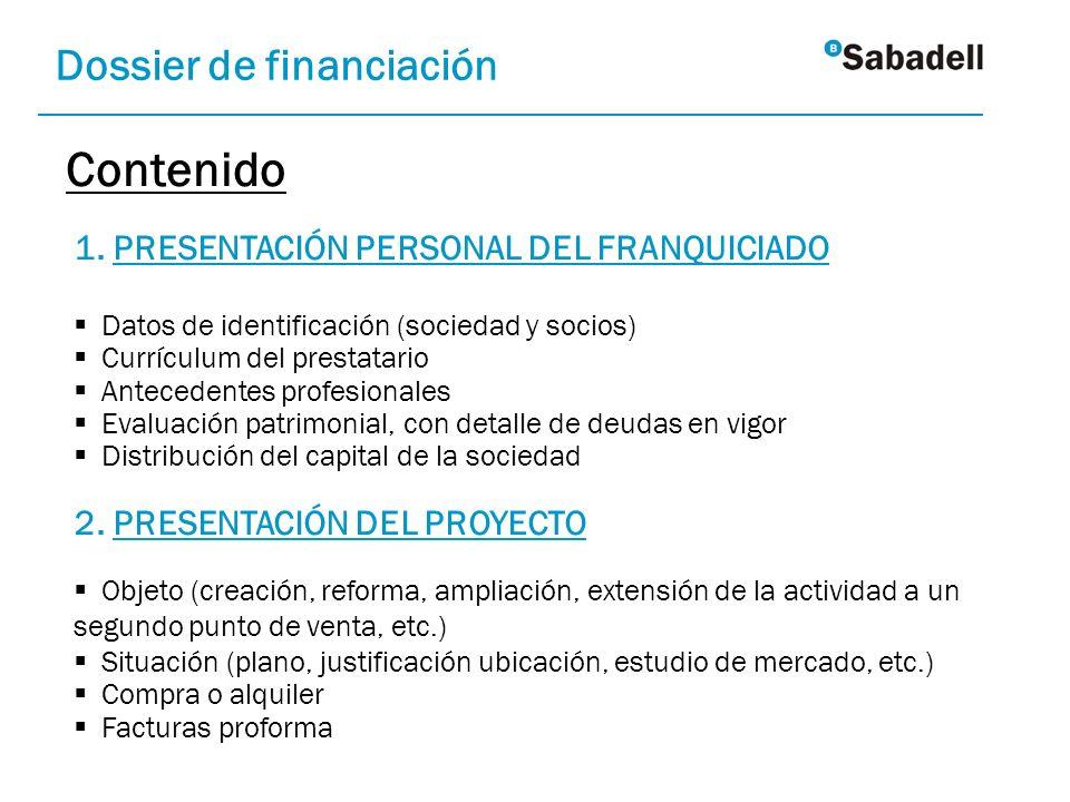 Contenido Dossier de financiación