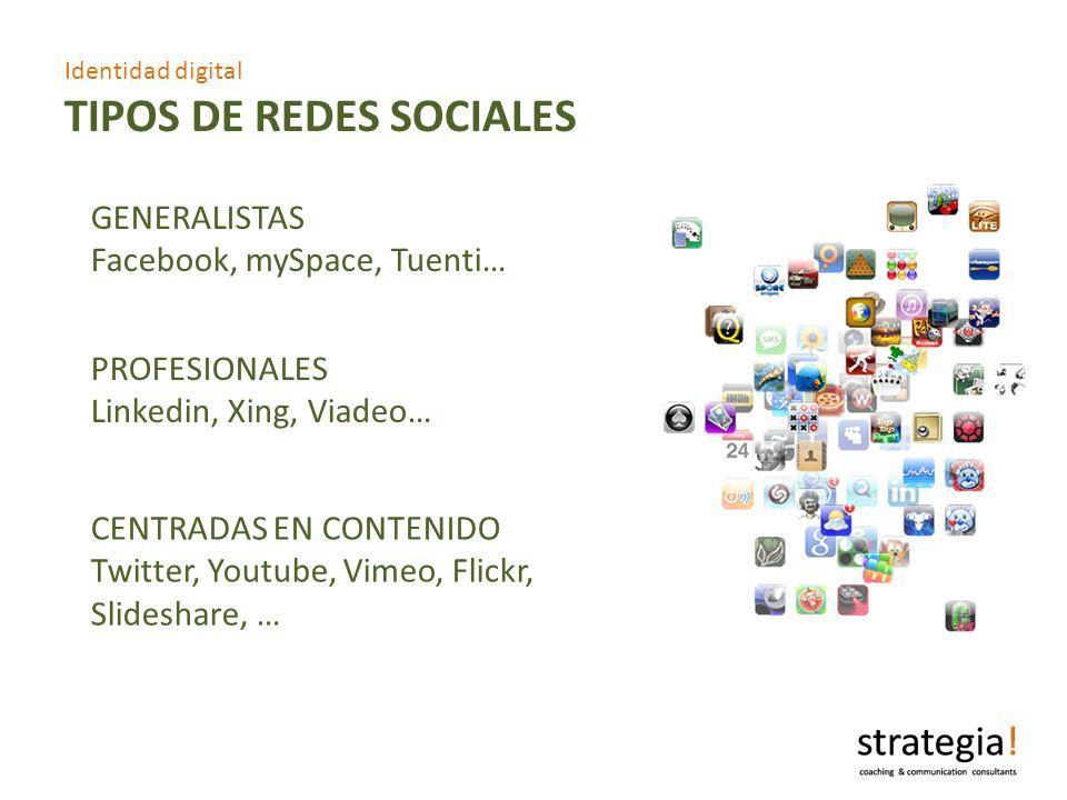 Identidad digital TIPOS DE REDES SOCIALES