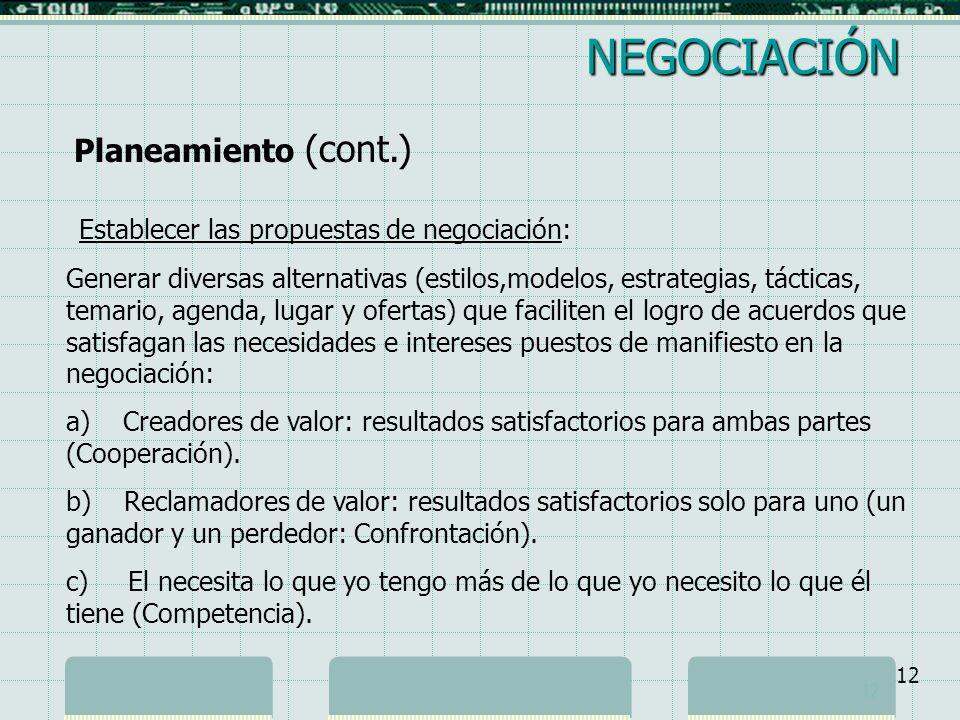 NEGOCIACIÓN Planeamiento (cont.)