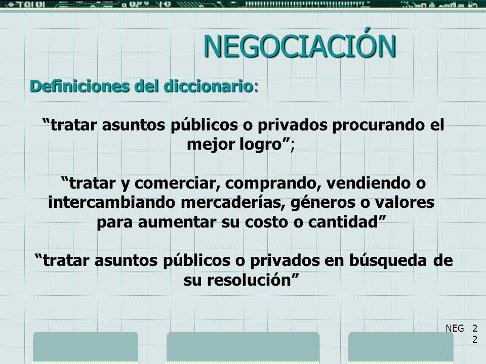 NEGOCIACIÓN Definiciones del diccionario: