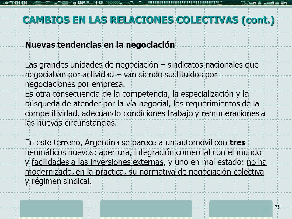 CAMBIOS EN LAS RELACIONES COLECTIVAS (cont.)