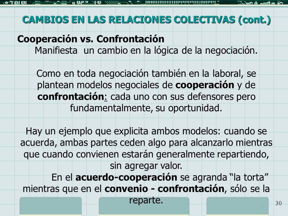 Manifiesta un cambio en la lógica de la negociación.